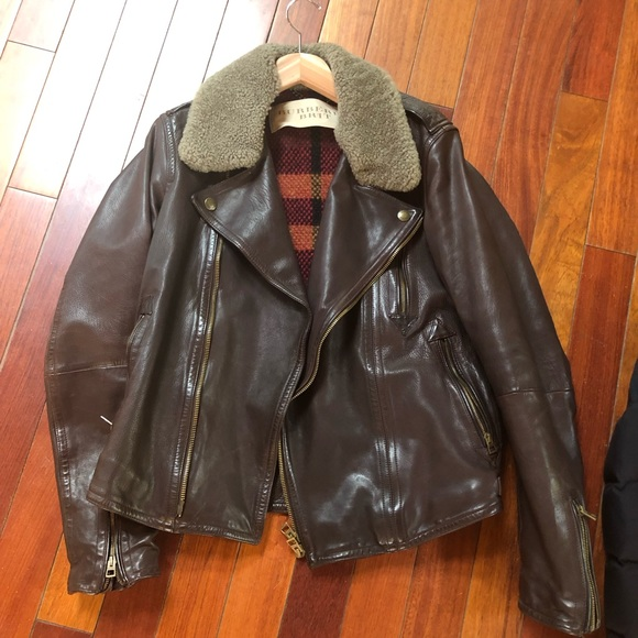 Burberry Shearling Collar Leather Jacket